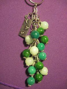 Shades of Green Glass Beaded Purse Charm / Key by FoxysFunDangles