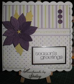 Poinsettia die by Die'sire (Crafter's Comapnion). Trim The Tree paper pack, greeting and candi by Craftwork Cards.