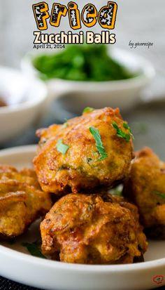 Fried Zucchini Balls. Great way to make your family love zucchini! . A wonderful vegetarian alternative to meatballs! | giverecipe.com | #zucchini #vegetarian #savory_recipes @Zerrin | GiveRecipe