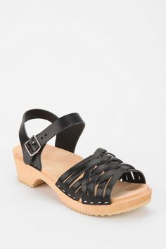 Urban Outfitters Swedish Hasbeens Braided Leather Platform Sandal in Black - Lyst