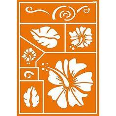 """Textilschablone """"Hawaii Flower"""" - tolle Schabloniervorlagen für textiles Gestalten günstig online bestellen   Basteln-Selbermachen.de"""