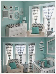 @Rebecca Dezuanni Brossard You could add in coral  for your nonpink little girl room ... Aqua and Grey Baby Room