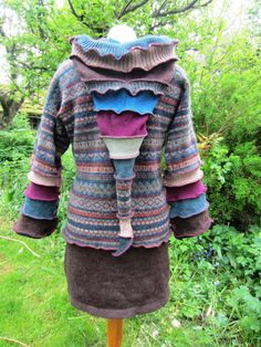 Festival chic, upcycled Fairisle hooded jumper with a warm brown wool skirt. Made from locally sourced, recycled knitwear by The Woolly Pedlar SOLD