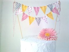 Cake Bunting Pink, Yellow and Grey Girly Circus Cake Topper Chevron and Dots Cake Bunting, Fabric Bunting, Bunting Flags, Bunting Ideas, Grey Yellow Nursery, Pink Yellow, Pink Grey, Circus Birthday, Girl Birthday