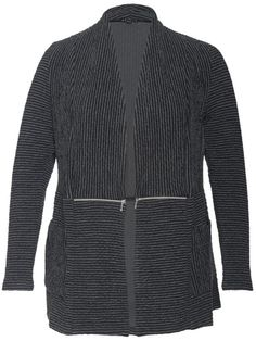 BEST SELLER - Charcoal Stripe Cloque Zip Detail Cardigan 57X590 - £95 - Cloque stripe jersey in black and gunmetal makes the most of this unusual cardigan. Two metallic zips at the waist add interest and can be worn open or closed. Lifts the black jersey top in your wardrobe to an elegant outfit for a business lunch. A chesca bestseller! Cardigan length 74cms from shoulder neck point to hem