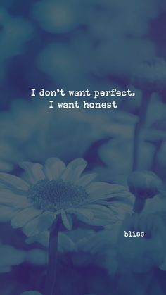 I don't want perfect, I want honest