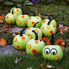 pumpkin decorating ideas - Google Search.  Since most trick or treaters come to our house before it gets dark...