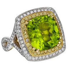 Beaudry Peridot Diamond Gold Platinum Cocktail Ring