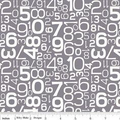 Gracie Girl grau Zahlen  Fat Quarter von uberstitch auf Etsy, $2.75