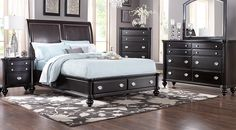 Remington Place Espresso 5 Pc King Sleigh Bedroom with Storage from  Furniture
