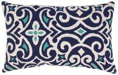 Amazon.com - Pillow Perfect Blue/White Damask Rectangular Throw Pillow - Pillows Decorative