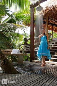 Shower with exquisite views over the Indian Ocean at North Island, Seychelles