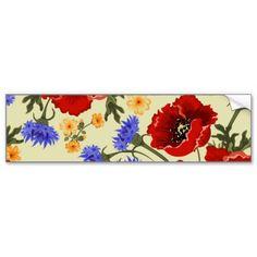 Flores da papoila, pétalas, folhas - azul verde ve