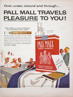 1963 Pall Mall Cigarettes Skiing Winter Travel Print Ad | eBay