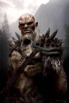 "Labelled as ""orc"", I could see this as a half-orc, mul or even half-giant. I dig it."