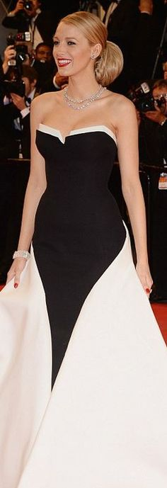 Who made  Blake Lively's black and white strapless gown that she wore in Cannes on May 16, 2014?