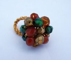 Autumn Forest Crochet Cocktail Ring by RetroRingsByTammy on Etsy