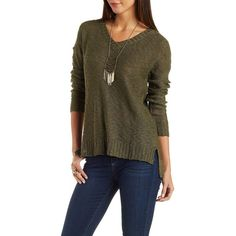 Charlotte Russe Olive Slub Knit Pullover Sweater by Charlotte Russe at Charlotte Russe featuring polyvore, fashion, clothing, tops, sweaters, olive, v neck sweater, olive sweater, brown sweater, knit pullover and brown pullover sweater