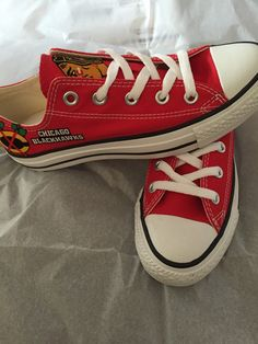 Items similar to Chicago Blackhawks Converse Shoes, Blackhawks Converse, NHL Shoes on Etsy Chicago Blackhawks, Blackhawks Hockey, Hockey Baby, Ice Hockey, Hockey Girls, Red Converse Shoes, Milan Fashion Weeks, London Fashion, Runway Fashion
