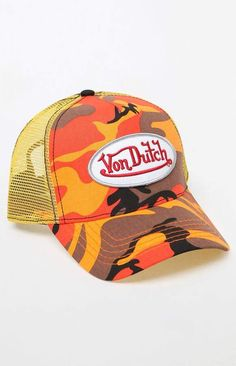 The 114 Camouflage Snapback Trucker Hat by Von Dutch has an iconic logo  patch ba1abfbaa8cf