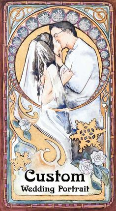 Commission an art nouveau style wedding portrait with watercolor and gold leaf. Start  from your wedding photo and create an artwork.