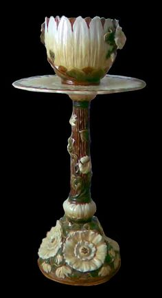 Zsolnay Lotus Pedestal and Jardinière Art Tiles, Crystal Vase, Garden Items, Stoves, Pedestal, Pottery Art, Hungary, Lotus, Glass Art
