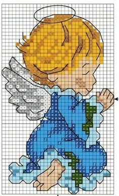 ANGEL BABY 3 (no color chart available, just use photo/pattern chart as your stitch/color guide. or choose your own colors) kék angyalka 4 Cross Stitch Angels, Cross Stitch Baby, Counted Cross Stitch Patterns, Cross Stitch Charts, Cross Stitch Designs, Cross Stitch Embroidery, Cross Stitch Christmas Stockings, Christmas Cross, Pixel Crochet Blanket
