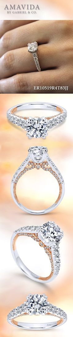 Gabriel & Co. - Voted #1 Most Preferred Fine Jewelry and Bridal Brand.  Intricate 18k White/Rose Gold Round Straight  Engagement Ring