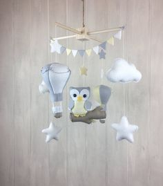 Baby mobile owl mobile hot air balloon by JuniperStreetDesigns