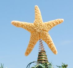 Starfish Tree Topper Golden Sugar Starfish by CoastalXmasDecor