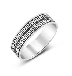 Sterling Silver Greek Key Design Ring - (Size 6-11) | Amazon.com