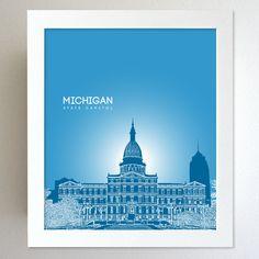 Michigan Skyline State Capitol Landmark - Modern Gift Decor Art Poster 8x10. $20.00, via Etsy.