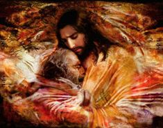 Jesus conquered t/world with His Love&Compassion! T/Jesus of the Bible didn't come to condemn t/world but to Save it! Jesus Forgives, Prophetic Art, Biblical Art, Jesus Pictures, Jesus Pics, Bible Pictures, Divine Mercy, My Jesus, Son Of God