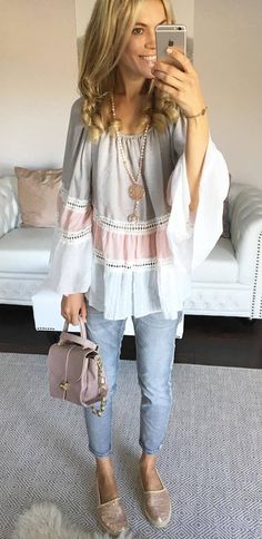 cute summer outfit top + bag + jeans