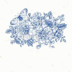 Ramo de flores y una mariposa — Ilustración de stock #73776899