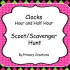 This is a great way for your students to move around while practicing clocks to the hour and half hour.  These cards can be used to play Scoot or g...
