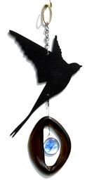 Mini Wind Chimes by Bottle Benders. American Made. See the designer's work at the 2016 American Made Show, Greenville SC May 17-19, 2016. americanmadeshow.com #americanmadeshow, #americanmade, #recycled, #recycledglass, #windchime, #bird, #swallow