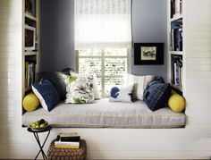 Blue Window Seat Nook with Barrel Ceiling and Clarissa Crystal Drop Small Round Chandelier - Transitional - Bedroom Cozy Bedroom, Bedroom Decor, Bedroom Chair, Bed Room, Bedroom Ideas, Farmhouse Side Table, Transitional Bedroom, Cozy Nook, Cozy Corner
