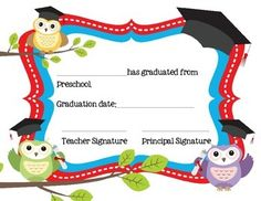 This is a set of two cute preschool graduation certificates.
