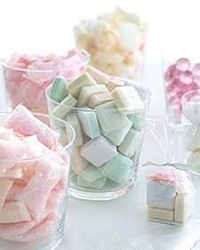 Spa party favors - mini scented soaps, rose-petal soaps, bath-oil balls, bath salts, and bath fizzes. All of these can be bought in bulk, then decanted. Have guests collect their selections in small glassine bags before they depart.