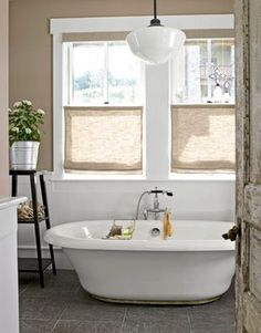 burlap window treatment.