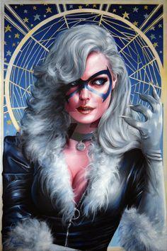 Black Cat Oil Painted Illustration by Fred Ian Marvel Women, Marvel Girls, Marvel Art, Marvel Heroes, Marvel Comics, Black Cat Marvel, Batgirl, Catwoman, Comic Books Art