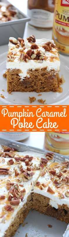 Pumpkin Caramel Poke Cake - lots of caramel and a cream cheese whipped topping…