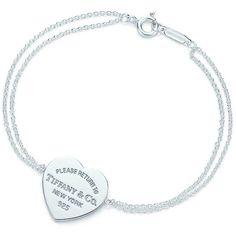 Return to Tiffany® Heart Tag Bracelet ($125) ❤ liked on Polyvore featuring jewelry, bracelets, sterling silver bangles, tiffany & co jewellery, heart shaped jewelry, sterling silver jewelry and sterling silver heart bracelet