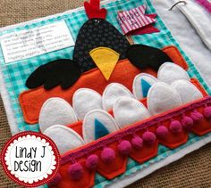 Match the shapes on Black Hen's eggs. Cute page in the quiet book Rhyme Time 2. Pattern by LindyJ Design at Etsy.