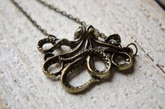 Octopus Necklace  Steampunk Heavy Antique Bronze by GlassPoppies, $16.00
