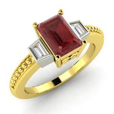 Emerald-Cut Garnet Engagement Ring in 10k Yellow Gold with VS Diamond