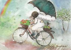 Risultati immagini per Minna Immonen Bicycle Girl, Weird Pictures, Children's Literature, World Of Color, Les Oeuvres, Rain, Colours, Painting, Biking