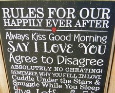 Rules For Our Happily Ever After -Happy Marriage typography word art …