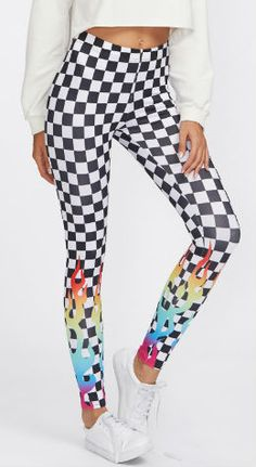 Graphic Print Checked Skinny Leggings